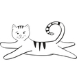 streaped kitty jumping and plays vector image vector image