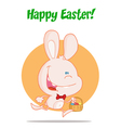 Pink Bunny With An Easter Basket vector image