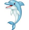 Cartoon funny dolphin jumping vector image vector image