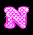 N letter pink bling girly vector image vector image