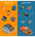 Car Service Isometric Vertical Banner Set vector image