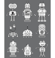 Black and white cut retro robots set vector image