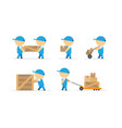 man loader with wooden box in hands and container vector image