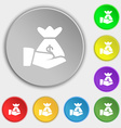 money in hand icon sign Symbol on eight flat vector image