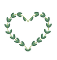 Green Vine Leaves in Beautiful Heart Shape Frame vector image