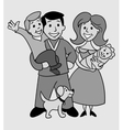 Old Photo Of Happy Family vector image