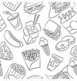 Junk food seamless pattern vector image vector image