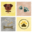 assembly flat shading style icons traces of dog vector image