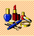 beauty accessories comic book style vector image