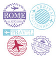 boat and airplane travel stamps rome canada in vector image