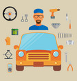 car service concept with flat icons and mechanic vector image