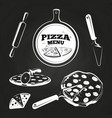 vintage pizza elements on chalkboard vector image