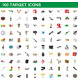 100 target icons set cartoon style vector image