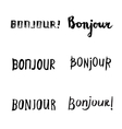 Hand drawn bonjour phrases vector image