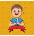 happy kid holding fork and knife emblem image vector image
