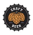 Craft beer bottle cap with hops vector image