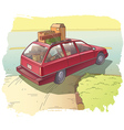 Red Station Wagon with a Cargo vector image vector image
