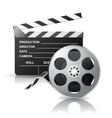 movie clapper and film reel vector image vector image