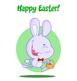 Purple Bunny With An Easter Basket vector image