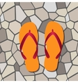 orange flip flops vector image vector image