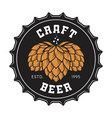craft beer bottle cap with hops vector image