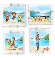 Four different pictures at the beach vector image