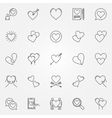 Hearts line icons set vector image