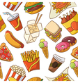 Junk food seamless pattern vector image