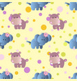 pattern with cartoon cute baby behemoth elephant vector image