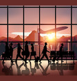 Silhouette people on airport background182 vector image