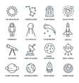 Space Monochrome Linear Icons vector image