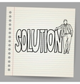 Businessman with word solution vector image