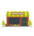 facade of organic market shop template concept vector image