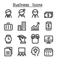 business management icon set in thin line style vector image