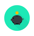 Black Money Pig with Dollar Coin Flat Icon with vector image