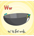 Alphabet W is for wok vector image