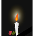 Mourning Mourning figure white candle and flowers vector image