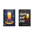 christmas and new year poster with a glass of vector image