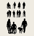 Disabilities and Elderly Silhouettes vector image
