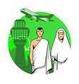 Hajj Couple And Airport Background vector image