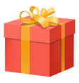 red gift box with yellow ribbon icon flat style vector image