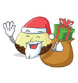 santa with gift snake fruit mascot cartoon vector image