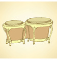 Sketch bongos musical instrument vector image