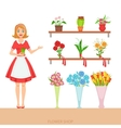 Female Florist In The Flower Shop Demonstrating vector image