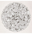 cartoon cute doodles tea time vector image