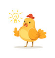 funny cartoon chick bird thinking colorful vector image vector image