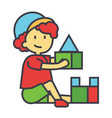 boy playing with colorful toys bricks concept vector image