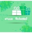 Postcard with gifts and good wishes for a happy vector image
