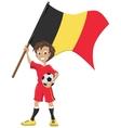 Happy soccer fan holds Belgium flag vector image