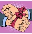 Hand tied ribbon vector image